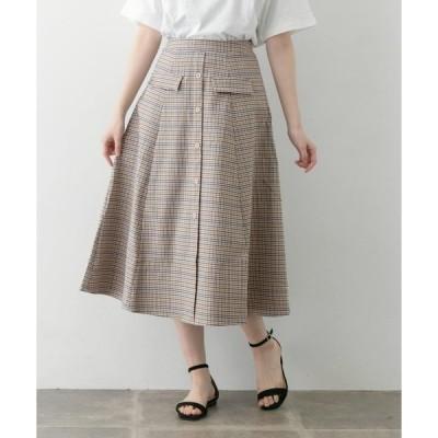 スカート フラップポケットチェックスカート∴
