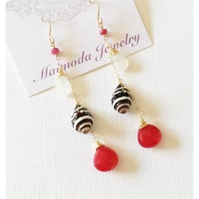 ハワイのジュエリー♪ Pyrene shell ruby chalcedony チェーンピアス、ゴールドフィルド