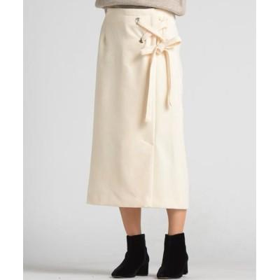 MAYSON GREY/メイソングレイ 【socolla】サイドハトメラップレースアップスカート オフホワイト XS