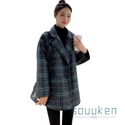 トレンチコート メルトンコート レディース ショート丈 大きいサイズ ゆったり 秋冬 厚手 防寒 防風 暖かい チェスターコート おしゃれ