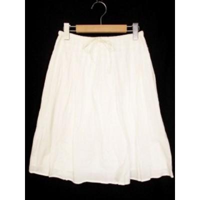 【中古】ナチュラルビューティーベーシック NATURAL BEAUTY BASIC ギャザースカート フレア ひざ丈 S 白 ホワイト レディース