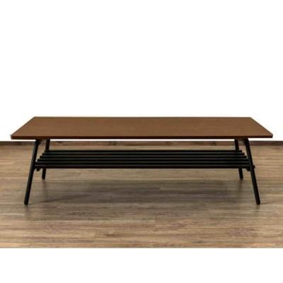 [送料無料・カード・前払限定] 棚付き折れ脚テーブル 約W120XD60cm ウォールナット*折りたたんで約7cmに収納可能*食卓テーブル、ちゃぶ台、作業台に