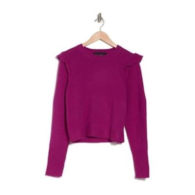 ニコルミラー レディース ニット&セーター アウター Jewel Neck Ruffled Pullover Sweater FUCHSIA