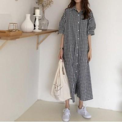 トレンド 韓国ファッション シャツワンピース ロング丈 半袖 カジュアル ゆったり レデイース オーバーサイズ オーバーシャツ 体型カバー