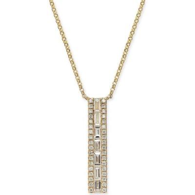 """メイシーズ Macy's レディース ネックレス Diamond Baguette Vertical Bar 18"""" Pendant Necklace (3/8 ct. t.w.) in 14k Gold Yellow Gold"""