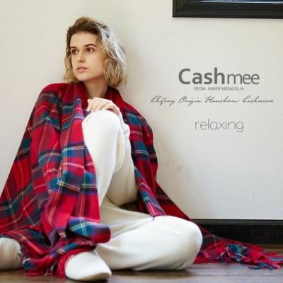 カシミヤ 100% チェックブランケット ビッグストール/2color』【全2色】大判 超大判 カシミア レディース メンズ   毛布