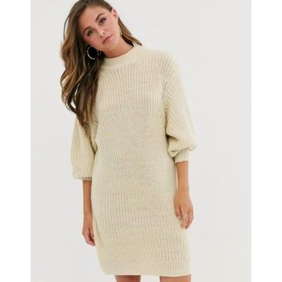 エイソス レディース ワンピース トップス ASOS DESIGN knitted rib mini dress with chunky crew neck