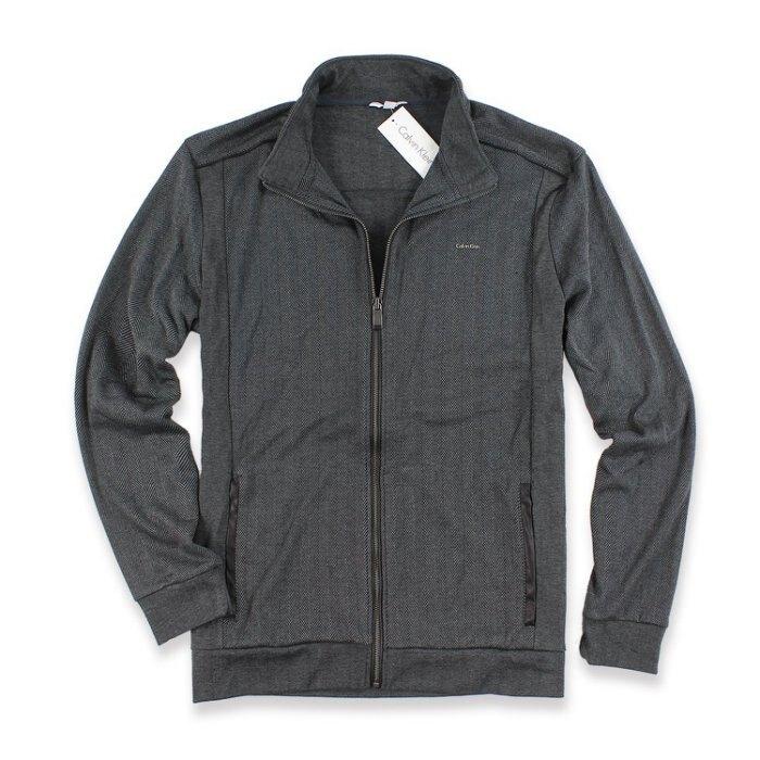 美國百分百【全新真品】Calvin Klein 外套 CK 夾克 立領 騎士 棉質 男裝 鐵灰 L號 I669