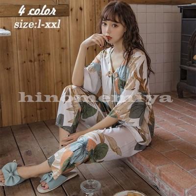 パジャマルームウェアレディース花柄半袖パジャマ可愛いロングパンツ薄手パジャマルームウェア上下セット女性部屋着寝巻き
