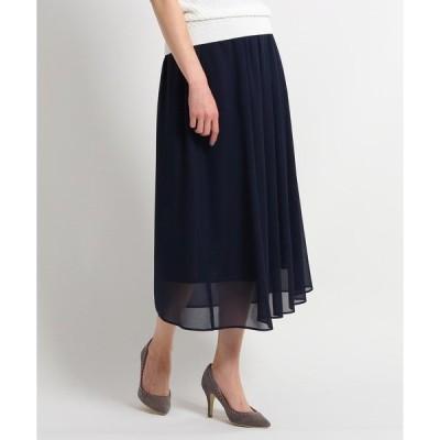 スカート 【洗える】ジョーゼットロングスカート