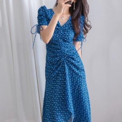 韓国 シック ロマンチック 洋風 Vネック 薄いプリーツ マシンレースアップ パフスリーブ 花柄 ドレス ロング スカート 女性