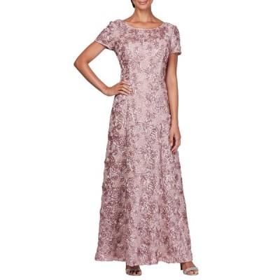 アレックスイブニングス ワンピース トップス レディース Embellished Lace A-Line Gown Rose