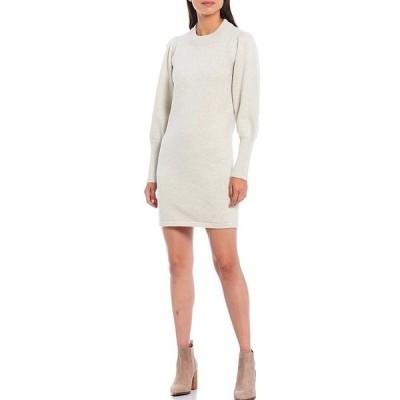 フレンチコネクション レディース ワンピース トップス Crew Neck Long Puff Sleeve Sweater Dress Dove Grey