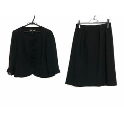 トウキョウソワール Tokyo Soir スカートスーツ サイズ13 L レディース - 黒 シースルー/フリル【中古】20201229
