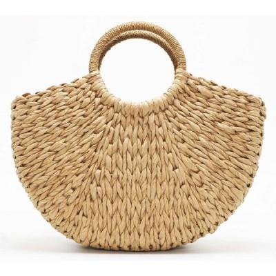 手作りビーチバッグラウンドわらトートバッグ大バケット夏バッグ女性の天然バスケットハンドバッグ高品質 Khaki No Lining