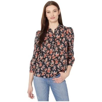 ラッキーブランド Lucky Brand レディース ブラウス・シャツ 七分袖 トップス 3/4 Sleeve Button Neck Printed Megan Popover Top Black Multi