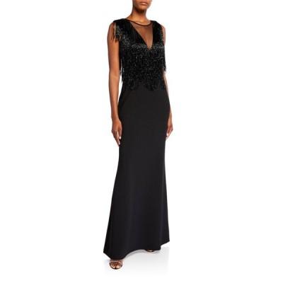 アイダンマットックス レディース ワンピース トップス Plunge V-Neck Illusion Beaded-Fringe Sleeveless Gown