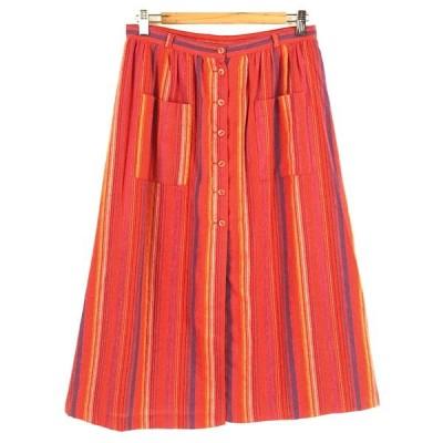 【古着】 ANNE PARIS ストライプ柄スカート フォークロアスカート ヴィンテージ オレンジ系 レディースW29 【中古】 n025597
