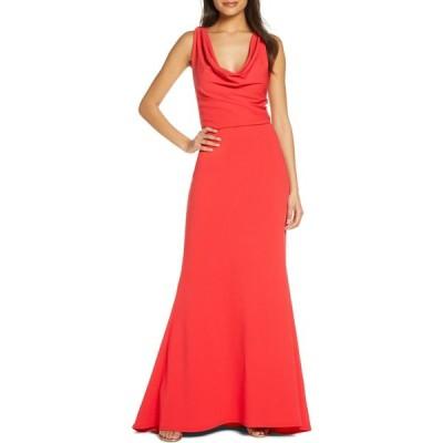 タダシショージ TADASHI SHOJI レディース パーティードレス ワンピース・ドレス Cowl Neck Crepe Evening Gown Carmine