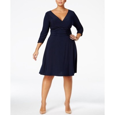 NY コレクション NY Collection レディース ワンピース 大きいサイズ ワンピース・ドレス Plus Size Ruched A-Line Dress Navy