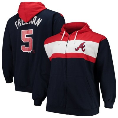 Freddie Freeman アトランタ・ブレーブス Majestic Name & Number Player Pieced Full-Zip Hoodie - Navy