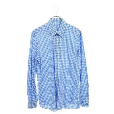 ルシアンペラフィネ lucien pellat-finet サイズ:L スカル総柄チェック長袖シャツ 中古 BS99