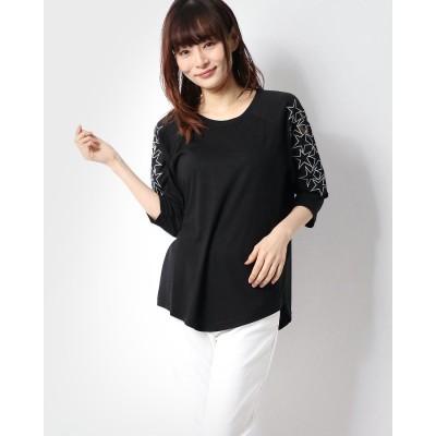 ラナン Ranan 袖星デザインTシャツ (ブラック)
