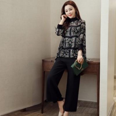 セットアップ レディース 韓国 ファッション セットアップ ワイドパンツ パンツドレス シフォンブラウス セクシー 2点セット 上下セット
