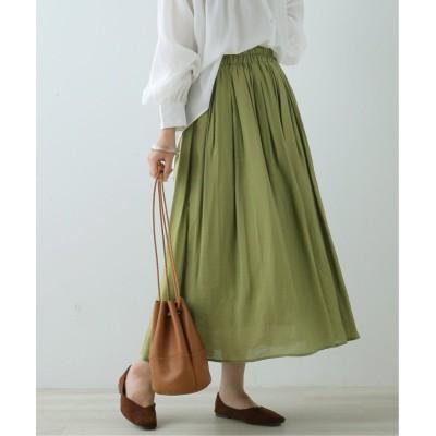 (framesRayCassin/フレームスレイカズン)R/Nオーガンジーギャザースカート/レディース 黄緑