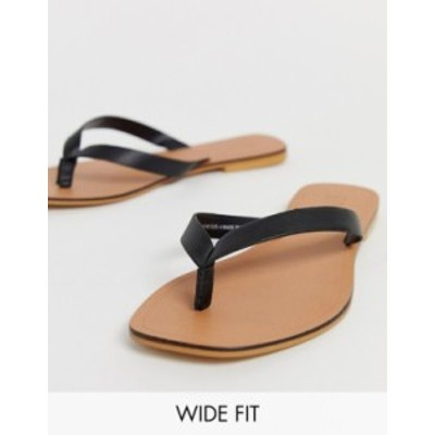 エイソス レディース サンダル シューズ ASOS DESIGN Wide Fit Florence leather flip flop sandals in black Black