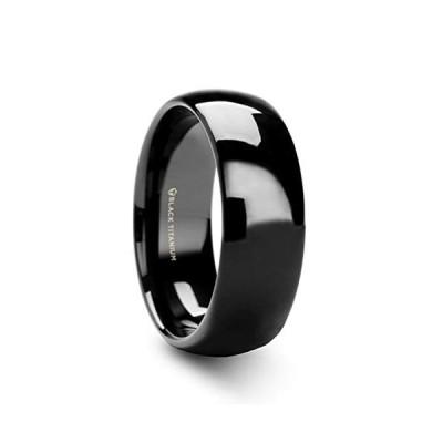 Tungsten Carbide Varen Black Titanium Polished Finish Men's Domed Wedd