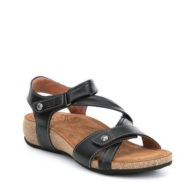 タオスフットウェア レディース サンダル シューズ Universe Banded Leather Wedge Sandals Black