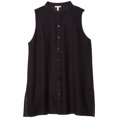 エイリーンフィッシャー シャツ トップス レディース Mandarin Collar Sleeveless Shirt Black