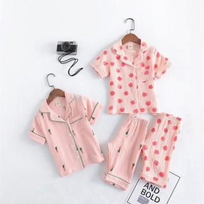 子供パジャマ 半袖 キッズパジャマ 女児 前開き 子供パジャマ 夏 ルームウェア 前ボタンこどもパジャマ