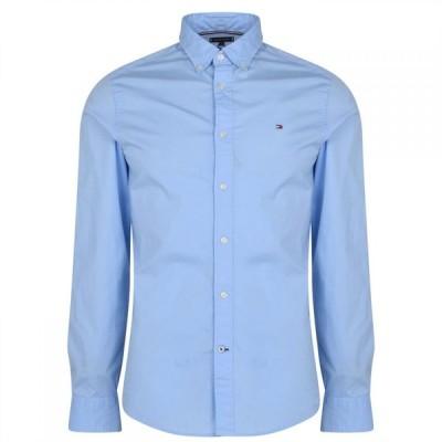 トミー ヒルフィガー Tommy Hilfiger メンズ シャツ トップス Stretch Poplin Long Sleeve Shirt Blue