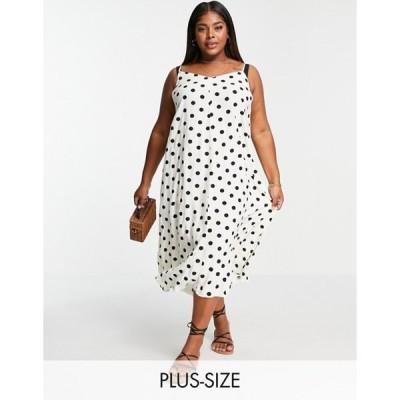 ヴェロモーダ レディース ワンピース トップス Vero Moda Curve midaxi cami dress in black and white polka dot