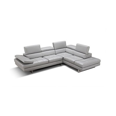 JNM Furniture Aurora Leather Right Facing Sectional Sofa in Light Grey