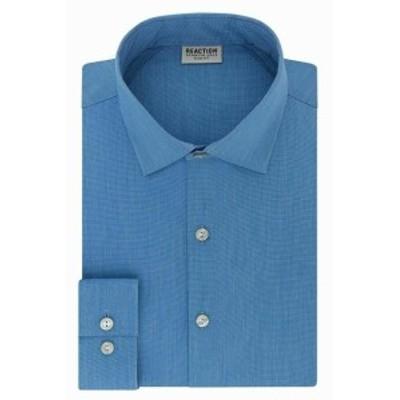 Kenneth Cole ケネスコール ファッション ドレス Kenneth Cole Reaction Mens Dress Shirt Blue Size 16 1/2 Slim Fit Flex