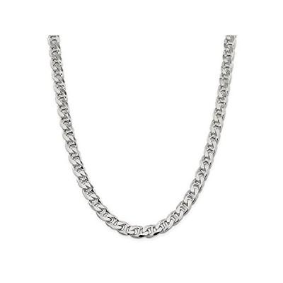 【イチオシ厳選】Solid 925 Sterling Silver Men's 8.9mm Flat Anchor Mariner Chain Necklace -