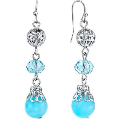 2028 レディース イヤリング・ピアス ドロップピアス ジュエリー・アクセサリー Silver-Tone Blue Beaded Drop Earrings Blue