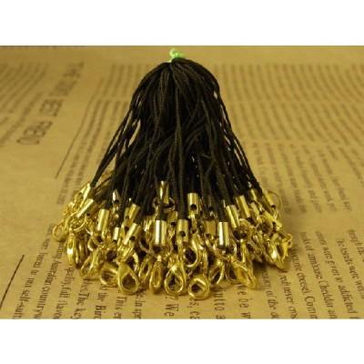 ストラップパーツ カニカン付き 半二重丸カン ゴールド金具 ブラウン 70mm 約50個 50本 紐 ひも キーホルダー 約7cm アクセサリーパーツ