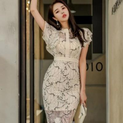 ドレス ワンピース キャバドレス レース タイト ひざ丈 透け感 フレンチスリーブ セクシー 韓国 mme5120