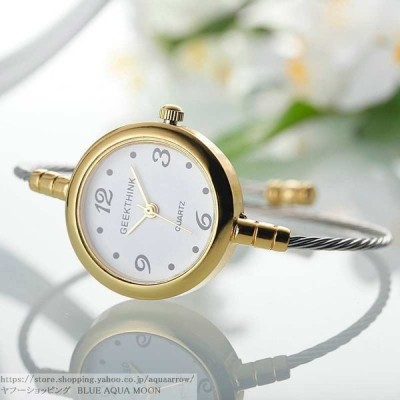 Geekthink レディース腕時計 クォーツ ブレスレット リング エレガント ファッション スチールバンド