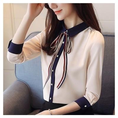 ブラウス  3色カラー ネックリボン かわいい 七分袖 大人カジュアル シフォンブラウス きれいめ コンサバ きちんと 上品 襟付き