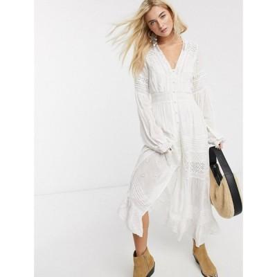 フリーピープル Free People レディース ワンピース ミドル丈 ワンピース・ドレス Lisa Midi Dress In White アイボリー