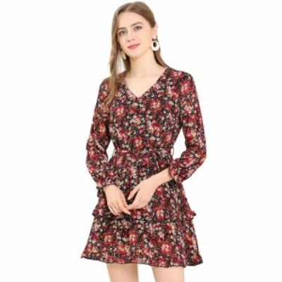 Allegra K aライン花柄ワンピース ドレス Vネック 長袖 ウエストゴム フリル裾 カジュアル レディース ブラックレッド XS