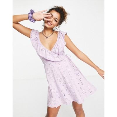 エイソス ASOS DESIGN レディース ワンピース ラップドレス ワンピース・ドレス broderie wrap frill dress in lilac モーヴ
