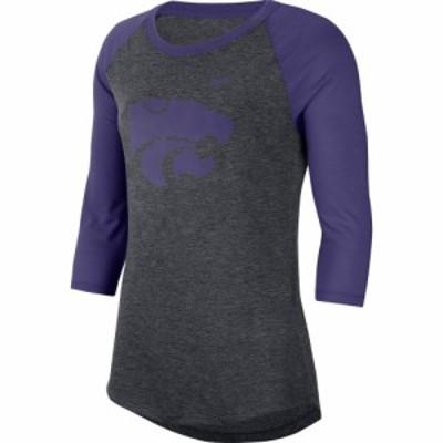 ナイキ Nike レディース 長袖Tシャツ 七分袖 ドライフィット ラグラン トップス Kansas State Wildcats Grey Dri-FIT Raglan 3/4 Sleeve