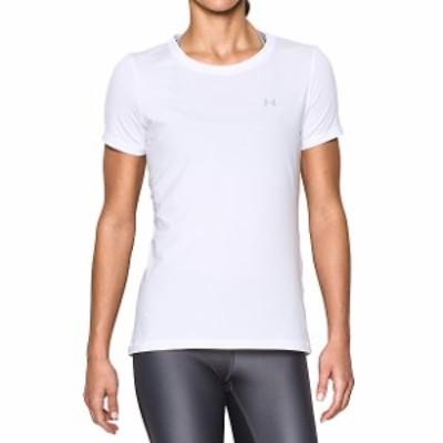 【セール】 アンダーアーマー レディーススポーツウェア Tシャツ 18F UA HG ARMOUR SS 1343028 100 レディース WHT/MSV