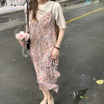 夏 花柄 キャミワンピ 韓国 ファッション レディース ワンピース パステル 花柄 ロングワンピース フリルワンピース ニュアンスカラー フ